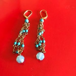 Vintage Gold Plated Turquise Earrings